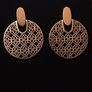 Didi Statement Earrings In Rose Gold Filigree